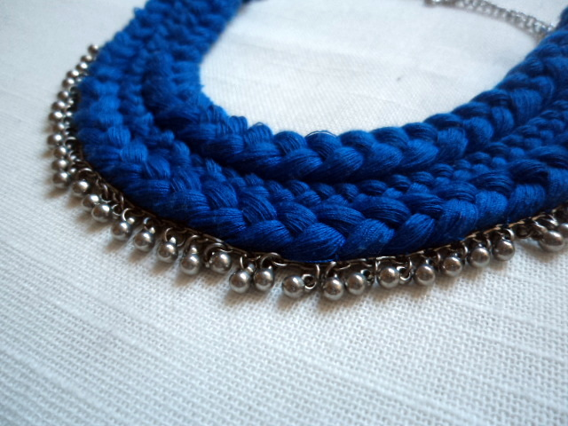 Blue Braided Necklace See It Love It Do It - Diy braided necklace